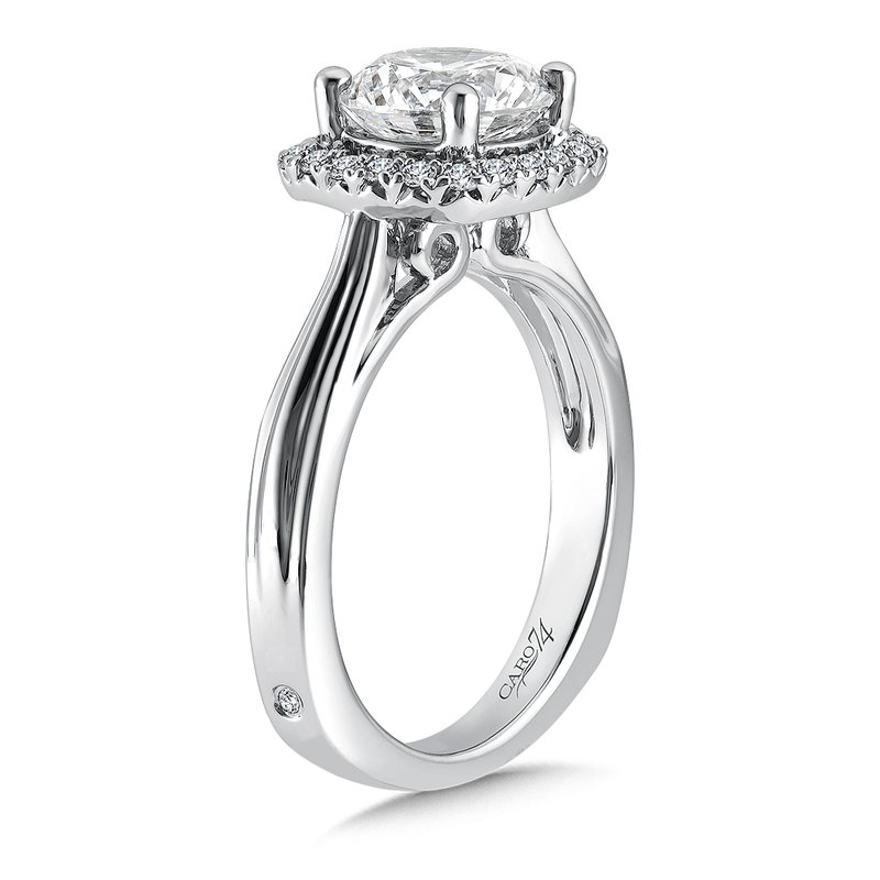 Caro74 Cushion-Shape Halo Engagement Ring in 14K White Gold with Platinum Head (2ct. tw.)