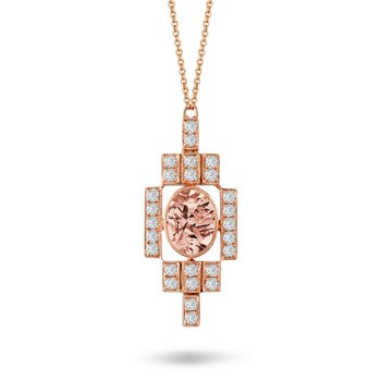 Rose Morganite & Diamond Frame Necklace 18KR