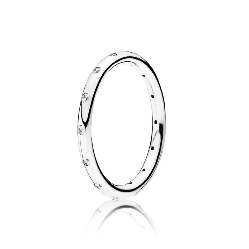 PANDORA Droplets Stackable Ring, Clear Cz