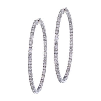 14K White Gold Secure Lock 6.2 Ct Diamond 55 mm Hoop Earrings