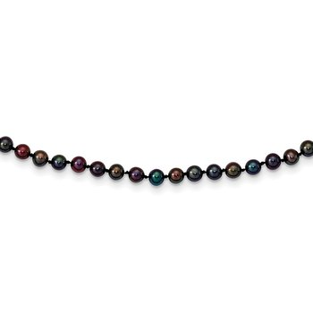 14k 4-5mm Black Near Round Freshwater Cultured Pearl Necklace