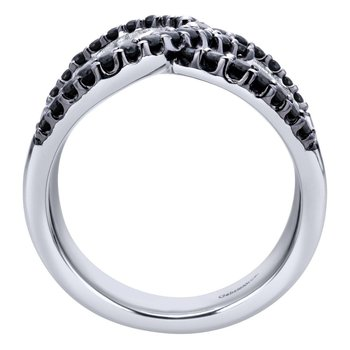 925 Sterling Silver Wide Band Black Spinel Ladies Ring