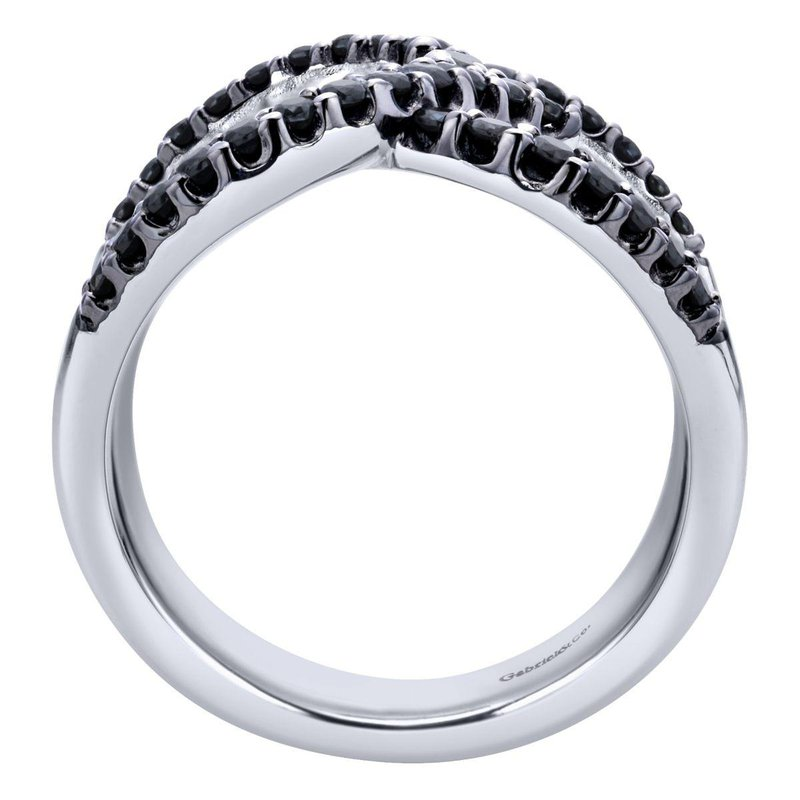 Gabriel Fashion 925 Sterling Silver Wide Band Black Spinel Ladies Ring