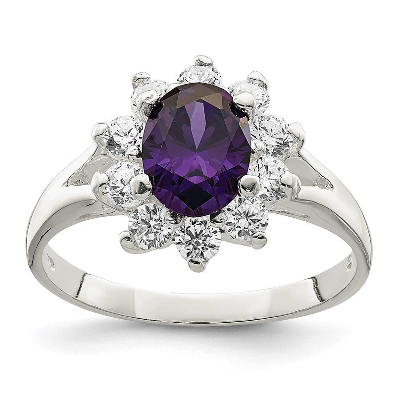 Quality Gold Sterling Silver Purple Oval CZ Cluster Ring
