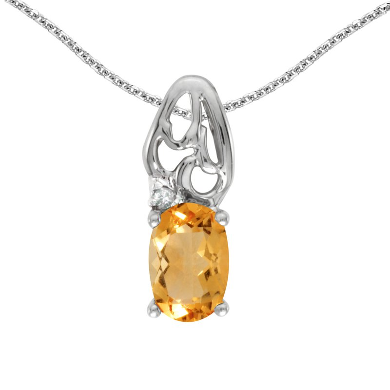 Color Merchants 14k White Gold Oval Citrine And Diamond Pendant