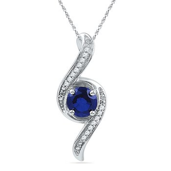 10kt White Gold Womens Round Lab-Created Blue Sapphire Solitaire Diamond Pendant 1.00 Cttw