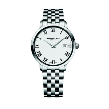 Men's Quartz Watch, 39 mm Steel on steel, white dial