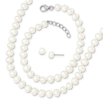 Sterling Silver RH 6-7mm FWC Pearl 18/2 Necklace 7/1 Brace/Earring Set