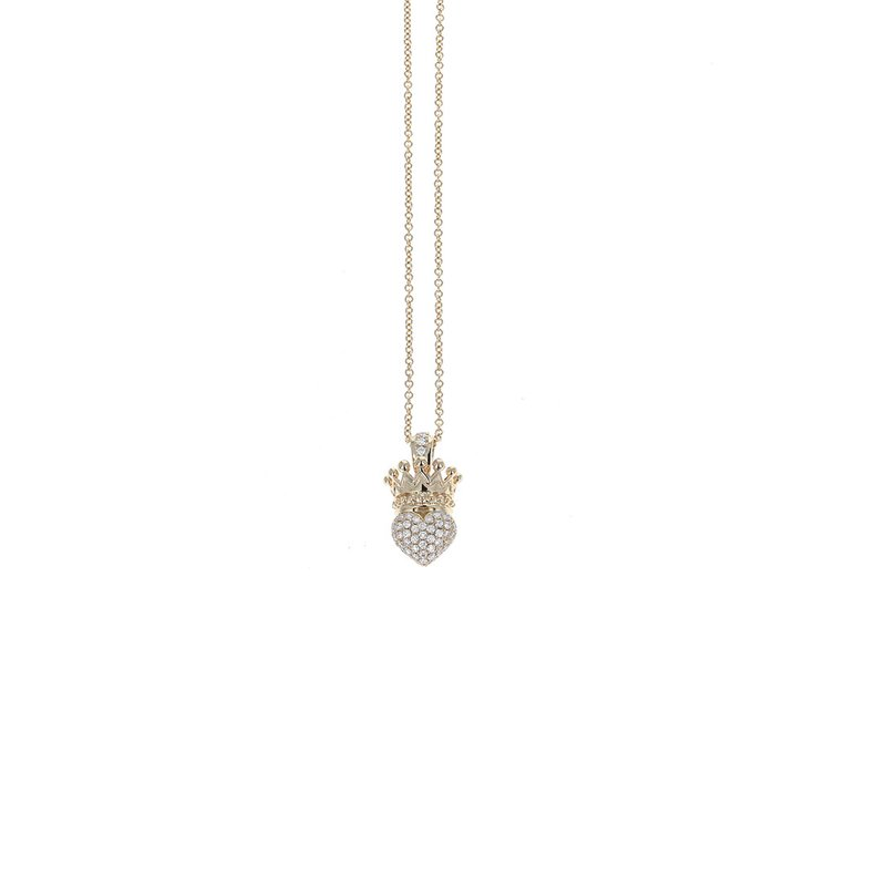 King Baby Gold Crowned Heart Pendant W/ Pave Diamonds In Bale & Heart