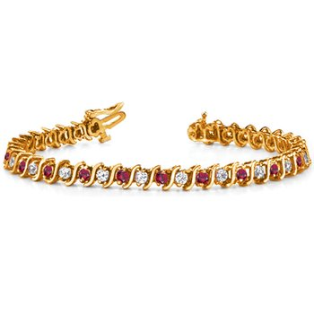 Yellow Gold Ruby & Diamond Bracelet