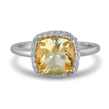 925 SS and  Diamond and Citrine  Ring Cushion Shape Halo in Prong Setting