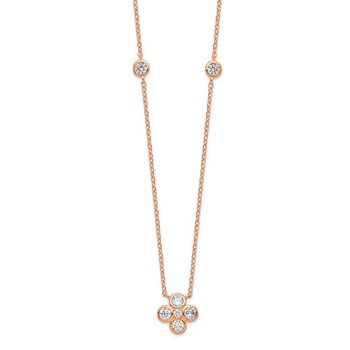 Sterling Silver Rose Gold-plated Polished CZ Flower w/ 2in ext. Necklace