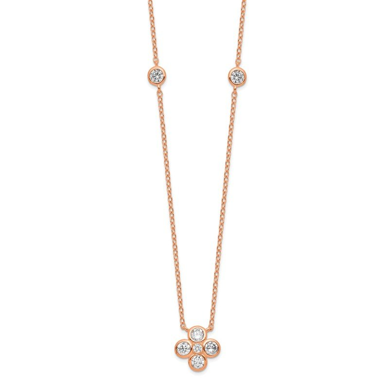 Quality Gold Sterling Silver Rose Gold-plated Polished CZ Flower w/ 2in ext. Necklace
