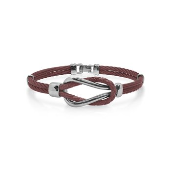 Burgundy Cable & Burgundy Leather Square Knot Bracelet