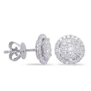 White Gold Diamond Earring 1cttw