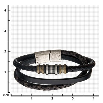 Steel Antique Gold/Silver Black Leather Layered Bracelet