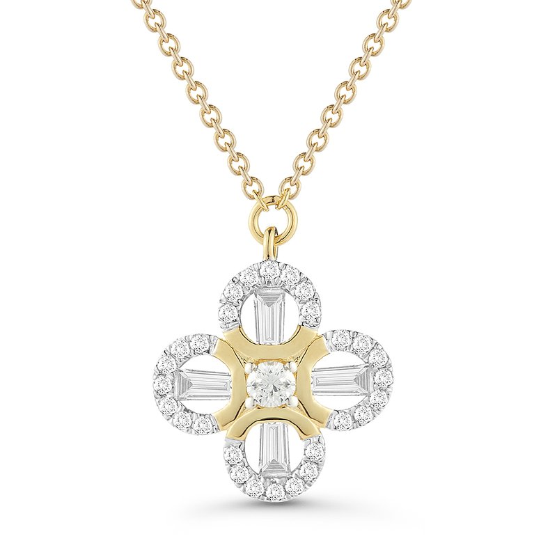 Shula NY Beautiful round & baguette Diamonds flower Pendant 0.42C TW