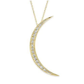 Diamond Large Crescent Moon Necklace in 14K Yellow Gold with 15 Diamonds Weighing .15 ct tw