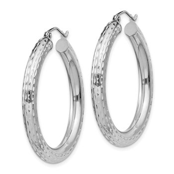 Sterling Silver Rhodium-plated 4.00mm Diamond-cut Hoop Earrings