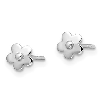 Sterling Silver Madi K RH Plated Flowers Post Earrings