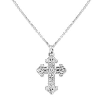 Diamond Medium Cross Necklace in 14k White Gold with 37 Diamonds weighing .18ct tw.