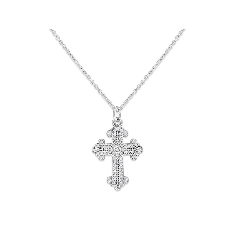 KC Designs Diamond Medium Cross Necklace in 14k White Gold with 37 Diamonds weighing .18ct tw.