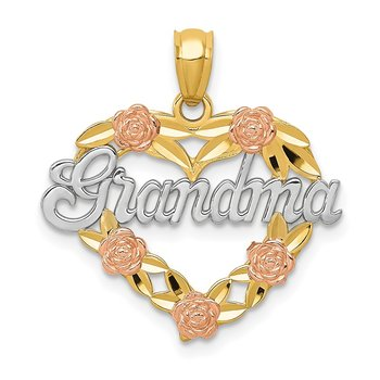 14k Two-tone w/White Rhodium GRANDMA Heart Pendant