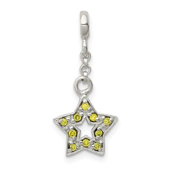 Sterling Silver Green CZ Star 1/2in Dangle Enhancer