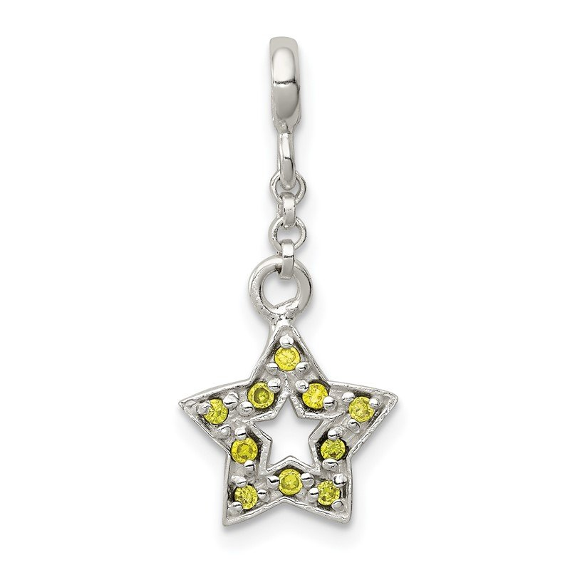 Quality Gold Sterling Silver Green CZ Star 1/2in Dangle Enhancer