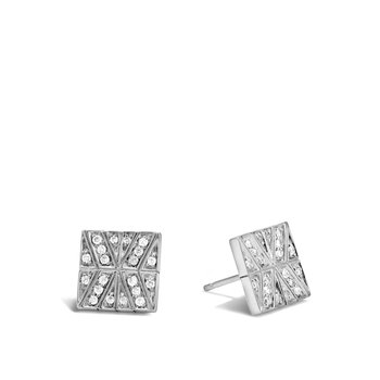 Modern Chain 10.5MM Stud Earring in Silver with Diamonds