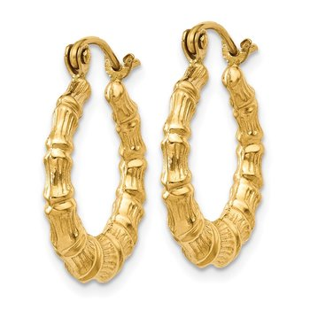 14k Polished Bamboo Design Hollow Hoop Earrings