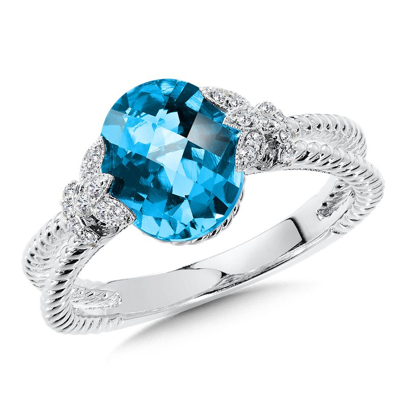 Colore Oro London Blue Topaz & Diamond Ring in 14K White Gold