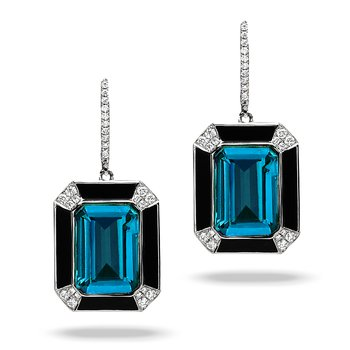 London Blue Topaz & Onyx Dangle Earrings 18KW