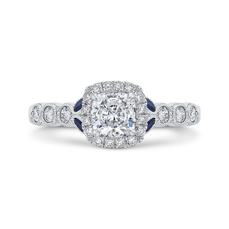 Carizza 14K White Gold Cushion Cut Diamond Halo Engagement Ring with Sapphire (Semi-Mount)