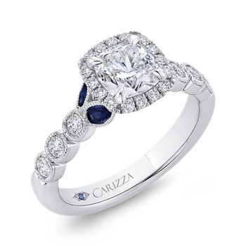 14K White Gold Cushion Cut Diamond Halo Engagement Ring with Sapphire (Semi-Mount)