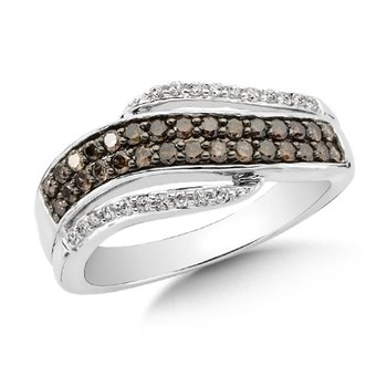 Pave set,  Cognac and White Diamond Fashion Ring with an Open Swirl Design set in 14k White Gold (1/2 ct. tw.)