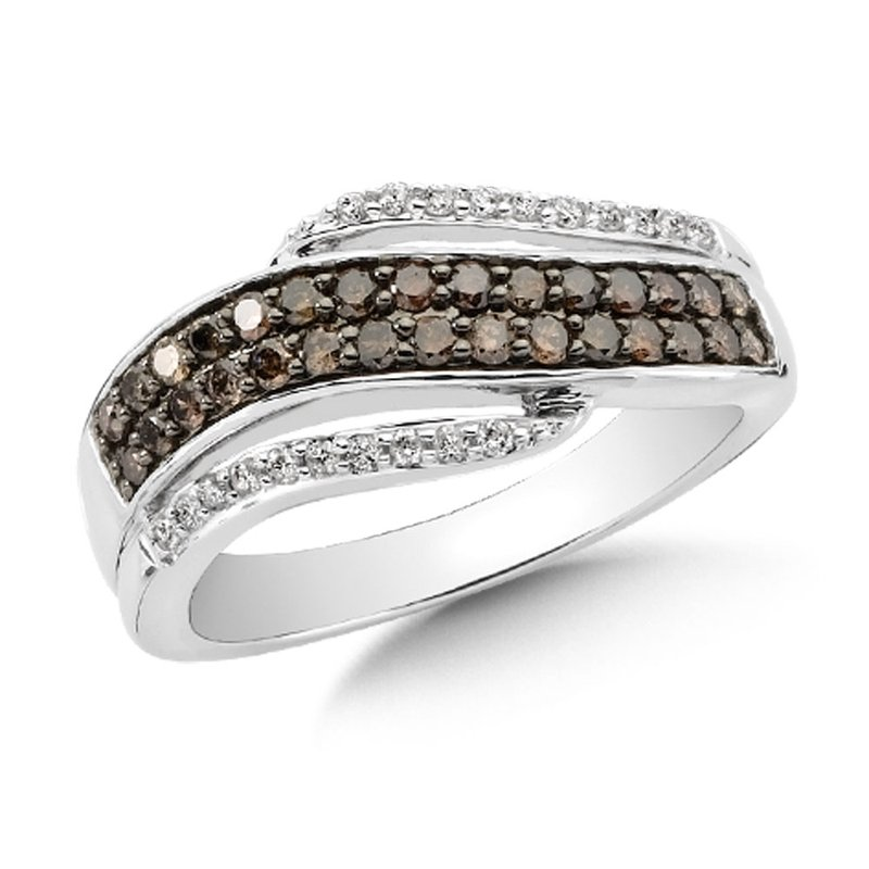 SDC Creations Pave set,  Cognac and White Diamond Fashion Ring with an Open Swirl Design set in 14k White Gold (1/2 ct. tw.)