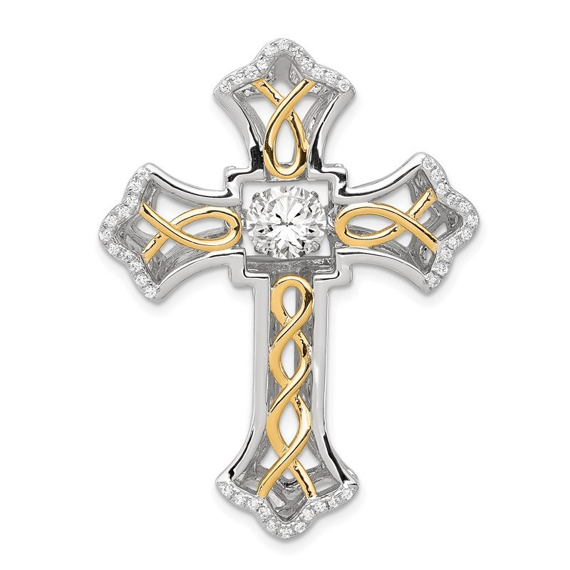 Arizona Diamond Center Collection Sterling Silver Platinum-plated Plshed Gold-plated Vibrant CZ Cross Pendant