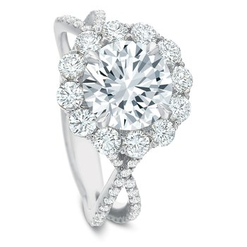 18K White gold halo Semi Mount for 1.50.00-2.50 ct center