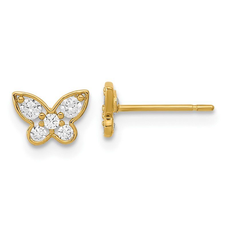 Quality Gold 14k Madi K Madi K Kids CZ Butterfly Post Earrings