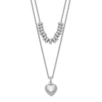 Sterling Silver Rhodium-plated 2-Strand Beads & Heart Dangle Necklace