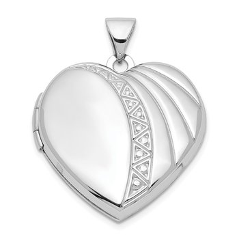 Sterling Silver Rhodium-plated 21mm Textured Heart Locket