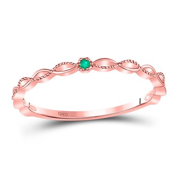 10kt Rose Gold Womens Round Emerald Solitaire Milgrain Stackable Band Ring .01 Cttw