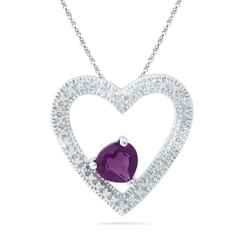 Sterling Silver Womens Round Lab-Created Amethyst Solitaire Heart Pendant 5/8 Cttw