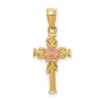 14K Two-tone Polished D/C Cross w/Flower Pendant