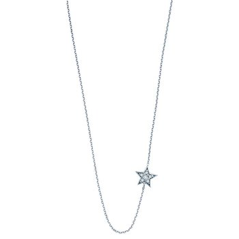 Diamond Sideways Star Necklace in 14k White Gold with 6 Diamonds weighing .09ct tw.