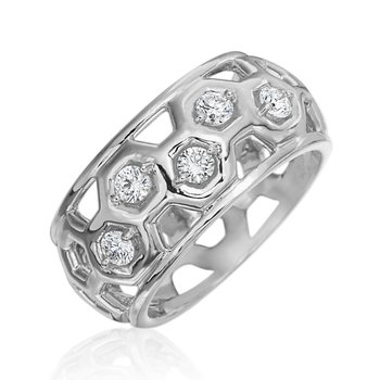 "Honeybee ""B"" Diamond Honeycomb Small Dome Ring R903D5G"