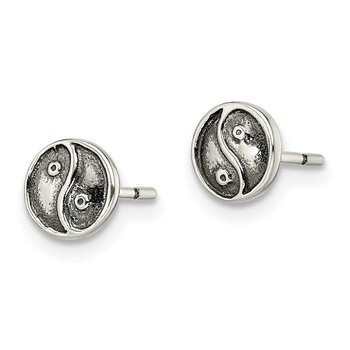Sterling Silver Polished and Antiqued Yin Yang Sign Post Earrings
