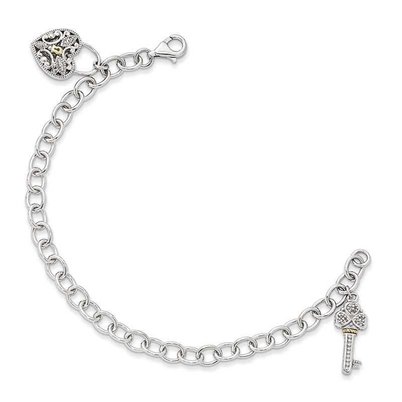 Shey Couture Sterling Silver w/14k Diamond Heart Lock and Key Bracelet