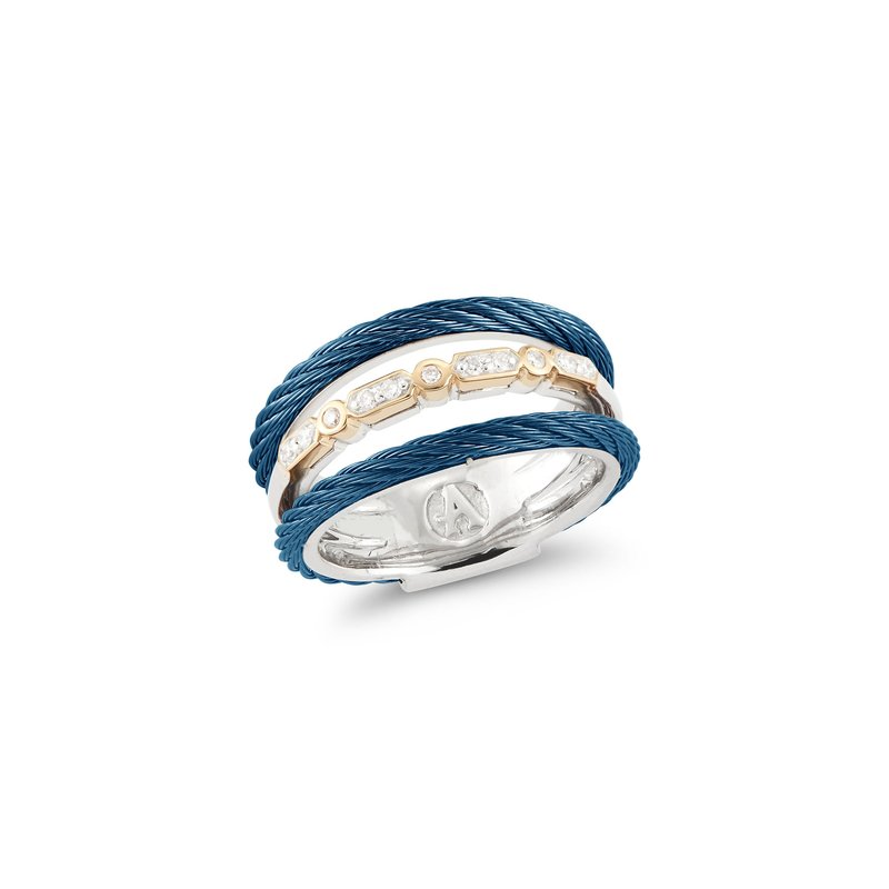ALOR Layered Blueberry Cable Ring with 18kt Yellow Gold & Diamonds